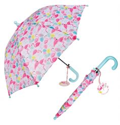 A colourful flamingo design children's umbrella. Perfect for keeping little ones dry!