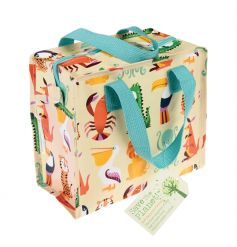 A bold and bright Colourful Creatures lunch bag with blue handle. An eco-friendly product made from recycled bottles.