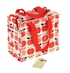 A stylish Vintage Apple design lunch bag with red handle. Made from recycled plastic bottles!