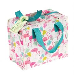 A stylish Charlotte lunch bag in the pretty in pink Flamingo Bay design. Made from recycled plastic bottles!
