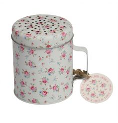 A pretty and practical metal flour shaker in the popular La Petite Rose design. Perfect for finishing those baked goods!