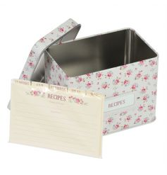 A metal recipe tin in the popular La Petite Rose design with matching recipe cards and dividers.
