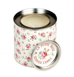 A beautifully scented rose fragrance candle in tin with the popular La Petite Rose design.