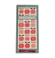 A stylish and practical Vintage Apple design magnetic shopping list with pencil and pencil holder.
