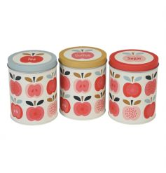 This set of Tea, Coffee and Sugar tins are beautifully decorated in the popular Vintage Apple design. Each has a differe
