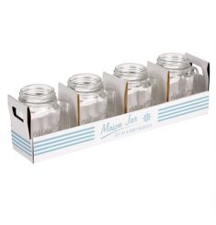 A set of 4 50ml mason jar shot glasses with retro packaging. A great drinking jar for parties and get togethers.