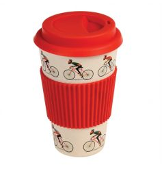Made from bamboo fibre, this eco-friendly coffee cup in the popular Le Bicycle design comes with a red silicone lid and