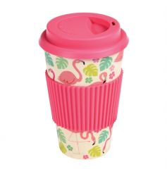 This biodegradable travel cup comes printed with our popular Flamingo Bay design.