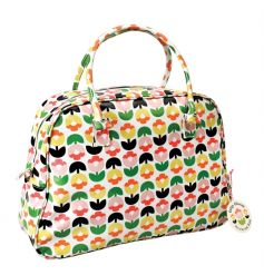 A pretty weekend bag with oilcloth material in the new and popular Tulip Bloom design.