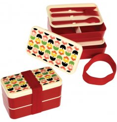 Handy for lunches and picnics, this Tulip in Bloom adult bento box has two compartments and cutlery
