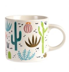 An on trend mug with a succulents and cactus design. A great gift item.