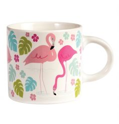 A large flamingo design mug. A lovely sized mug to cheer you up whilst enjoying that yummy drink!