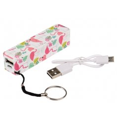 Stay connected whilst on the go with this pretty and practical Flamingo Bay design portable charger.