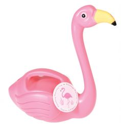 A novelty pink flamingo shaped watering can. A unique gardening gift and accessory!