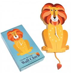 A cute Charlie the Lion wooden wall clock with swinging tail pendulum.