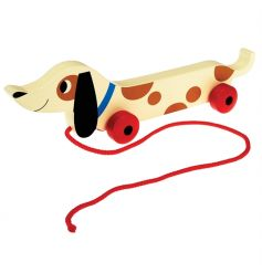 A retro style sausage dog pull toy with matching packaging. A lovely gift item for little ones.