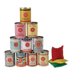 A traditional tin can alley game with 10 tin cans and 3 soft bean bags.