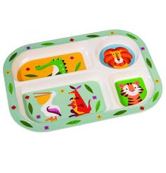 Make feeding time fun with this Colourful Creatures melamine tray with 4 animal compartments.