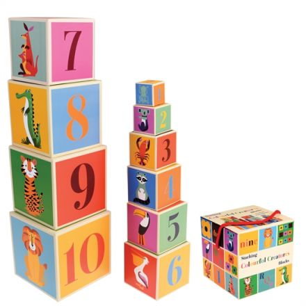 A set of 10 Colourful Creatures alphabet and number stacking blocks, each with a different character on.