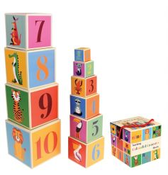 Learn to count and learn the alphabet with this set of 10 Colourful Creatures stackable blocks.