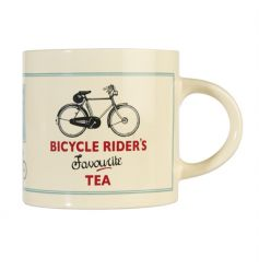 "A large cream ""bicycle riders favourite tea"" ceramic mug, dishwasher and microwave safe."