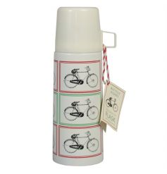 A vintage bicycle print flask making the perfect gift for those who are on the go!
