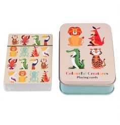 A set of playing cards in the fun and friendly Colourful Creatures design. Complete with tin.