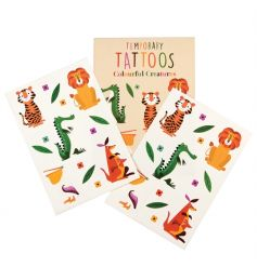 Colourful Creatures temporary tattoos. Two sheets included, each with 5 characters and flowers to cut out and apply.