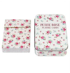 A set of playing cards with a metal tin in the popular La Petite Rose design. An essential travel game much loved by all