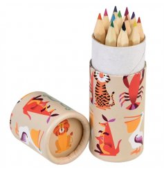 Get creative with this set of 12 coloured pencils in the fun Colourful Creatures design tube.