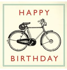 "Vintage Bicycle ""happy Birthday"" birthday card with envelope blank inside for your own message."