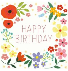 "Summer Meadow ""Happy Birthday"" birthday card with envelope blank inside for your own message."