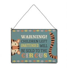 A fun and playful circus sign. A fabulous gift item for the home and playroom.