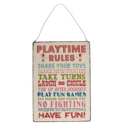 A colourful vintage inspired metal sign with play time rules. A must have for the play room and family home!