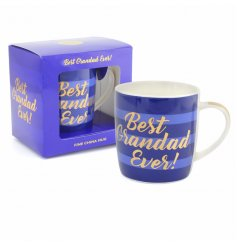 A blue hued china mug with a gold script 'best grandad ever' quote