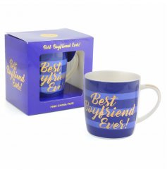 A blue hued china mug with a gold script 'best boyfriend ever' quote