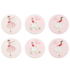 A set of 6 vintage coasters with gift box. A must have for the vintage lover.