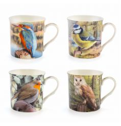 A new line of assorted animal mugs,   An assortment of 4 differently pictured ceramic bird themed mugs,