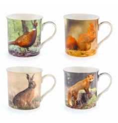 An assortment of 4 differently pictured ceramic wildlife themed mugs,