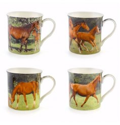 This beautifully assorted set of horse Scene printed mugs will sit perfectly in any kitchen,