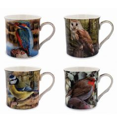 A new line of assorted animal mugs,   An assortment of 4 differently pictured ceramic wildlife themed mugs,