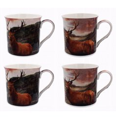 An assortment of 4 differently pictured ceramic stag themed mugs,