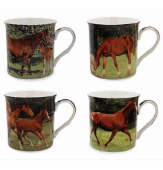 An assortment of 4 differently pictured ceramic horse mugs,