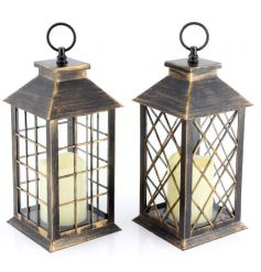 Plastic framed lantern with crossed windows, comes with built in LED flameless flickering candle