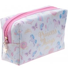 Travel in style with this quirky unicorn printed make up bag