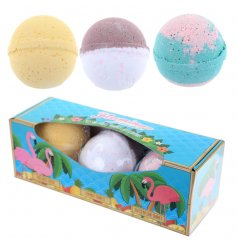 3 funky dissolvable bath bombs, with the luscious scents of summer