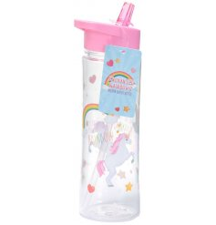 Always look trendy with this travel water bottle in a pink unicorn theme