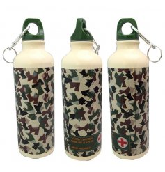 Carry around your water in trend with this quirky camouflage themed aluminium drinks bottle