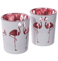 A stylish flamingo fun themed set of votive candle pots. Set in style with its frosted out and flamingo pink inner