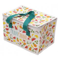 Covered with an array of tropical fruits, this woven picnic bag will be sure to add Summer Vibes to any lunch out!
